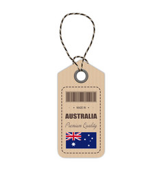 Hang tag made in australia with flag icon isolated vector