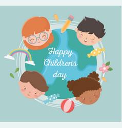 Happy childrens day international world girls boys vector