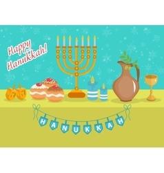 Happy Hanukkah greeting card invitation poster vector
