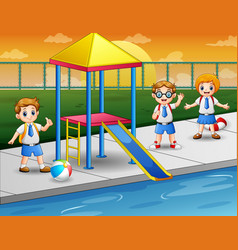 Happy kids in a swimming pool vector
