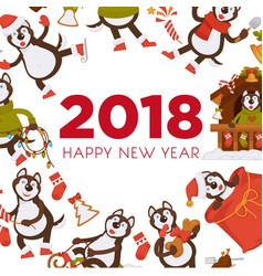 Happy new year 2018 dog cartoon celebrating vector