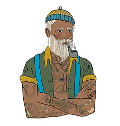 Hipster sailor man vector image
