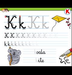 How to write letter k worksheet for kids vector