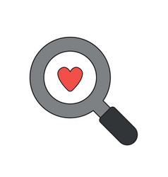 icon concept heart in magnifying glass vector image