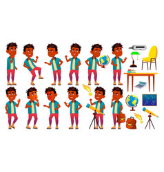 Indian boy schoolboy kid poses set primary vector