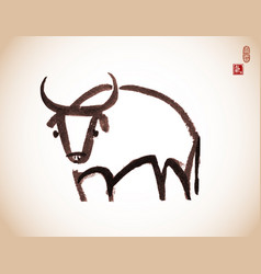 ink painting bull chinese new year symbol vector image