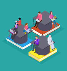 International students isometric education vector