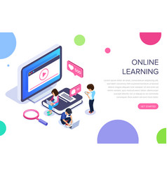 isometric online learning concept video tutorials vector image