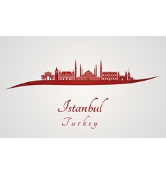 Istanbul skyline in red vector