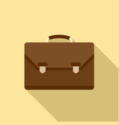 leather office suitcase icon flat style vector image