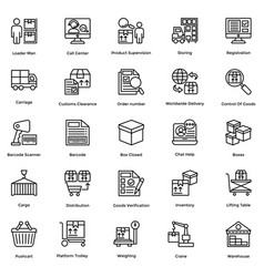 Logistic delivery icons set 8 vector