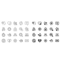 Love line icons couple romantic and heart vector