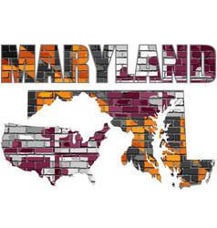 Maryland on a brick wall vector