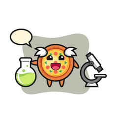 Mascot character pizza as a scientist vector