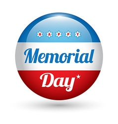Memorial day button badge with USA flag stars vector image