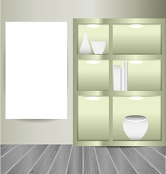 mock up poster in the room with book shelves vector image