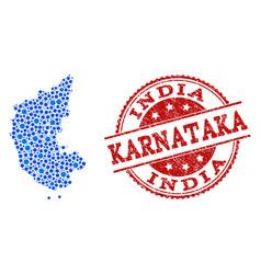 Mosaic map of karnataka state with linked circles vector