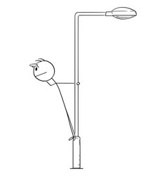 Person or businessman standing on street lamp vector
