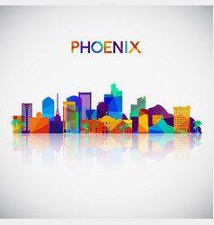 Phoenix skyline silhouette in colorful geometric vector