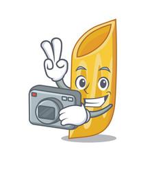 Photographer penne pasta character cartoon vector