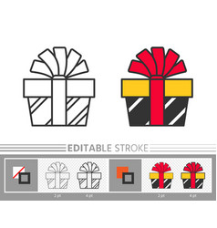 present box ribbon bow surprise gift line icon vector image