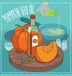 pumpkin seed oil used for frying food vector image