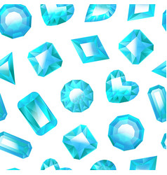 realistic detailed 3d blue jewels seamless pattern vector image