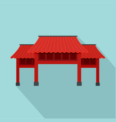 Red asian arch icon flat style vector
