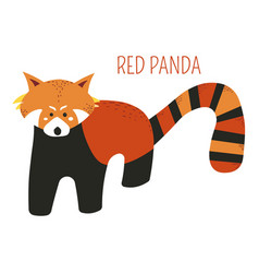 red panda cartoon south east asia animal vector image
