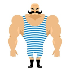 Retro strongman sportsman Ancient bodybuilder with vector