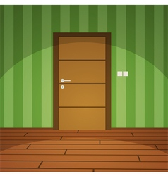 Room With Door - Green vector image