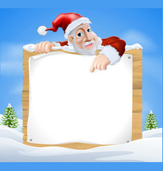 santa claus sign winter scene vector image
