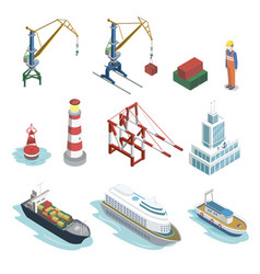 Sea shipping logistics isometric 3d elements vector