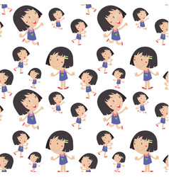 seamless background with happy girl in blue dress vector image