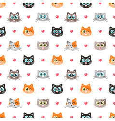 seamless pattern with funny cats and hearts vector image