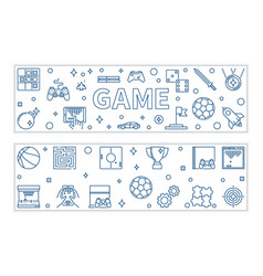 Set 2 game outline banners games vector