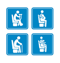 Set detailed blue icons priority seats vector