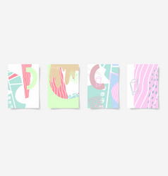 set four hand drawing abstract design vector image