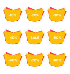 set of nine sale stickers with different discount vector image