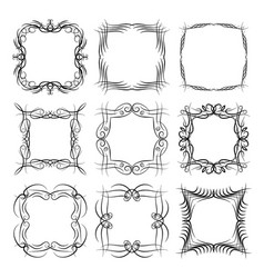 set of nine square black monogram elements vector image