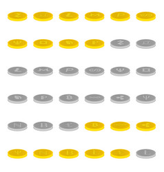 Set of thirty six icons of gold and silver vector