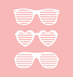 set shutter-shades sunglasses background vector image