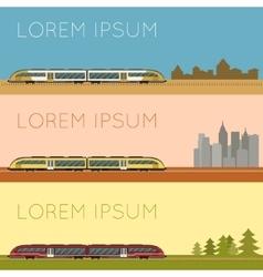 set suburban train banners vector image