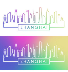 shanghai city skyline colorful linear style vector image