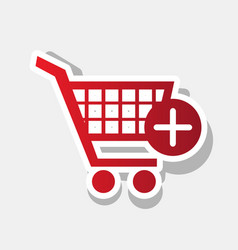 shopping cart with add mark sign new year vector image