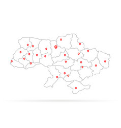 Simple thin line ukraine with red map pin vector
