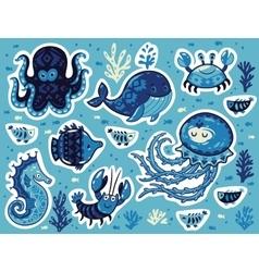 Sticker set ocean animals in cartoon style vector