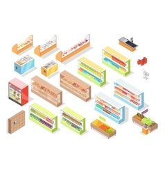 Supermarket Departments Interior Set Shop Icons vector image