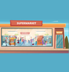 Supermarket facade people shopping in product vector