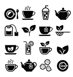Tea and ice icons set vector